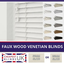 Faux Wood Venetian Blinds With Cords - Made To Measure 35mm or 50mm Slats