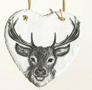 Gorgeous, Stag, hanging heart slate gift home decor animals, black, white