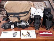 Canon AE-1 Program BUNDLE 2 Sigma lenses 28-80mm & 75-250mm flash BOOK EXCELLENT