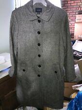 LANDS' END Wool Blend Coat Women's Size 14 Gray Knit Long Knee Length Jacket EUC