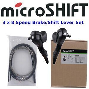microSHIFT R8 3x8 Speed Drop Bar Shifter/Brake Lever Set Road Bike fits Shimano