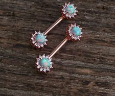 Nipple Piercing Ring Jewelry Barbell Green Fire Opal,Diamond 18k Rose Gold Over