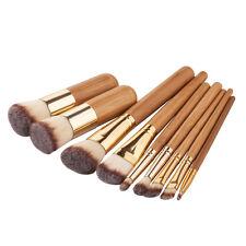 9 Pcs Bamboo Make Up Brush Set Foundation Brushes Kabuki Powder Blusher Contour