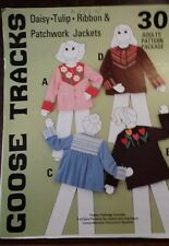 "GOOSE TRACKS ""DAISY TULIP RIBBON PATCHWORK JACKET LADIES PATTERN FREE SHIPPING"