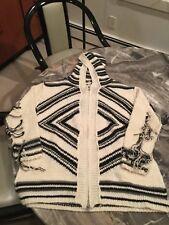Vintage Havana zipper cardigan hoodie size S black cream striped fringe