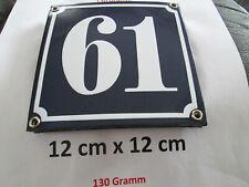 Hausnummer Nr. 61 weisse Zahl auf blauem Hintergrund 12 cm x 12 cm Emaille Neu