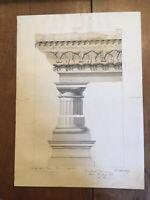 Superbe Grand Dessin colonne chapiteau encre lavis original xix ordre ionique