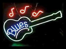 "New Blues Guitar Music Bar Pub Neon Sign 17""x14"""