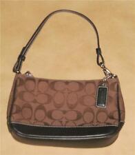 Coach Chocolate Brown Logo Fabric & Leather Pouchette Shoulder Bag Purse