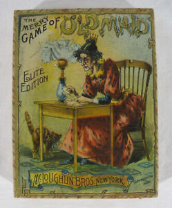 Antique 1892 McLoughlin Bros Elite Edition The Merry Game of Old Maid & Box yqz