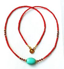Afghan Natural Coral, Turquoise & Garnet Tiny Seed Beads Necklace Gold Plated