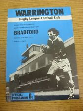 27/04/1974 programma Rugby League: Warrington V BRADFORD Nord [CLUB CHAMPION