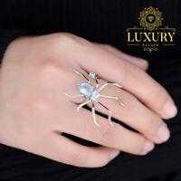 Natural 2.74Ct Sky Blue Topaz Solid 925 Sterling Silver Vintage Spider Ring