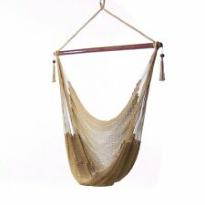 Sunnydaze Soft Polyester Extra-Large Hanging Rope Caribbean Hammock Chair - Tan