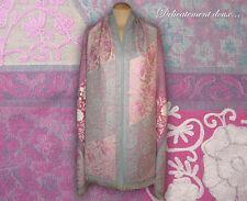 Belle étole 100% laine motif floral entièrement brodé dominante rose - CH128