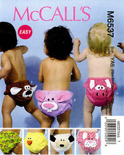 McCall's Pattern M6537 Baby Diaper Covers NB-XL duck cat pig dog bunny 6537