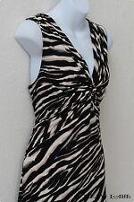 Zebra Animal Print Stretch Knit Dress V-Neck Fit & Flare Black White Small