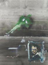 "1972 ""Velasquez"" Surrealist Collage Painting Rafael Mahdavi French Mexican"
