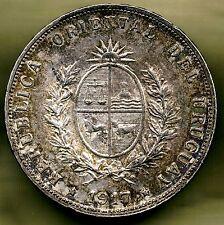 URUGUAY - 50 CENTESIMOS 1917 UNC KM# 22, GREAT PATINA