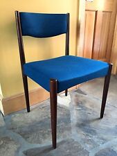 Simpla Lux Holland Danish Mid Century Modern Side Chair Teal Blue Wool Fabric