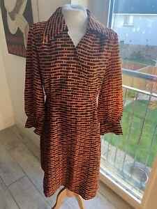 VINTAGE 60's ORANGE & BLACK GEOMETRIC  MOD MINI TEA  DRESS UK 12/14 MEDIUM