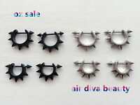 Man Women Spike 316L Surgical Stainless Steel Gothic Rivet Earrings Bar Stud