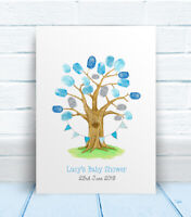 Baby Shower tree personalised thumb print guest book, table sign, keepsake