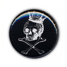 Badge CANIBAL SKULL KING Noir tete de mort os bones calavera rock button Ø25mm