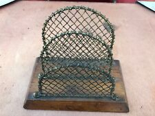 early 1900s oak and mesh letter rack !