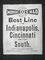 "(766L) RAILROAD MONON & CH&D CHICAGO CINCINNATI LINE 1895 ADVERT REPRINT 11""X14"""