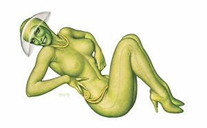 LOST IN SPACE Miles Teves ATHENA Green Alien ART PRINT Rare SIGNED & NUMBERED!