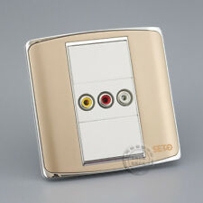 Wall Socket Plate 3RCA AV Socket Champagne Color Panel Faceplate Outlet Adapter