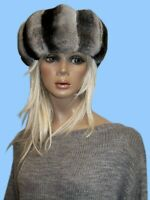 NEW GENUINE CHINCHILLA FUR HEADBAND SCARF style SCC one fits all WEAR OVER COAT!