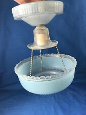 Vintage Mid Century Ceiling Mount Hanging Light Fixture & Shade Blue Glass