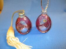 Vintage Val St. Lambert Cranberry And Clear Crystal Perfumes