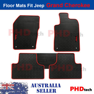Premium Quality All Weather Rubber Car Floor Mats JEEP GRAND CHEROKEE Red Logo