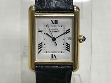 Rare Vintage Must De Cartier Tank GP Argent 925 Ref 2413 Quartz Men Watch