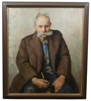 Milton D Birch 20th Century Canvas Oil Painting Portrait of Old Man Smoking Pipe
