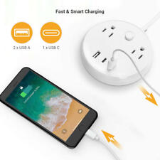 2-Outlet Surge Protector Power Strip Pad with 1 USB C & 2 USB A Ports, 10A/1250W