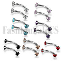 New CZ Stainless Steel Tragus Lip Ring Monroe Stud Earring Body Piercing Jewelry