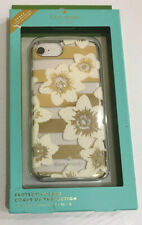 KATE SPADE PHONE CASE WHITE FLOWER GOLD ACCENTS RHINESTONE iPhone 8,7,6s,6