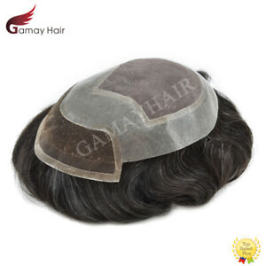 Lace Front Mens Toupee Hairpiece Mono Poly Skin Around Hair Replacement System
