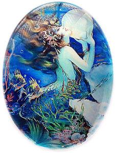 Victorian Art Nouveau Mermaid Illustration Glass Cameo Cabochon Jewelry Supplies