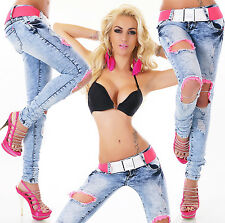 HOT Women's Hipster Skinny Jeans Destroyed Look Pink Lace Blue Jeans + Belt 6-14