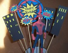 "SPIDERMAN CENTERPIECE PROPS ON 12"" STAKES GREAT FOR CAKE, IN VASE ETC"