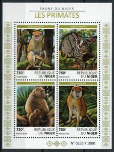 Niger Wild Animals Stamps 2015 MNH Primates Monkeys Bushbabies Baboons 4v M/S