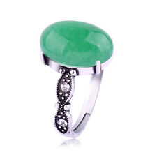 New Fashion Charm Women Antique Silver Plated Retro Green Jade Ring Jewelry
