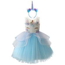Flower Girls Unicorn Dress Hair Hoop Set for Kids Princess Wedding Party Costume