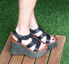 CHIE MIHARA SHOES GAMEOVER PLATFORM WEDGE SANDALS 9 BLACK LEATHER