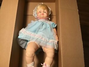 """Vintage Horsman Baby Doll 24"""" tall with blonde hair & hazel eyes c 1980s"""